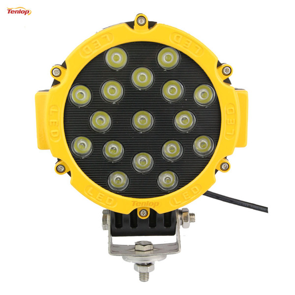 """Hot Sale 6.3"""" Inch 51W LED Work Light Black Yellow Red For Jeep ATV 4*4 Offroad Boat 12V 24V"""