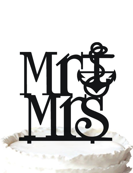 Mr & Mrs Anchor Wedding Cake Topper Silhouette Vintage Bride Birthday,37 color for option Free Shipping