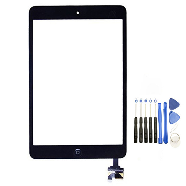 100% New Touch Screen Glass Panel with Digitizer with ic Connector Buttons for iPad Mini 2 Black and White with Tools