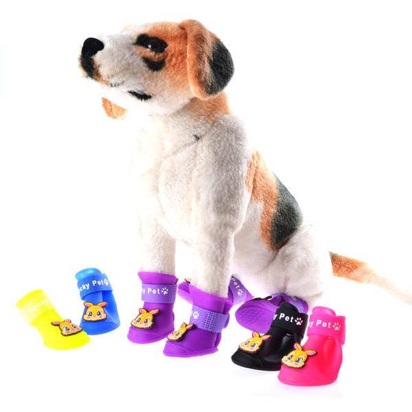 Pet Fashion Series Dog Shoes Botines de silicona antideslizante botas de lluvia Snow Dog Boots 3 tamaños 7 colores envío gratis