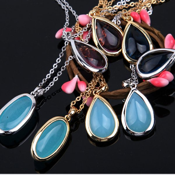 New Fashion Men Women Mixed Color Natural gem Love Necklace Water Drop Pendant Necklaces Jewelry Free Shipping