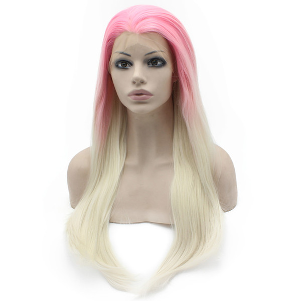 """24"""" Long Ombre Pink Blonde Two Tone Silky Straight Half Hand Tied Heat Resistant Synthetic Fiber Lace Front Fashion cosplay party Wig S02"""