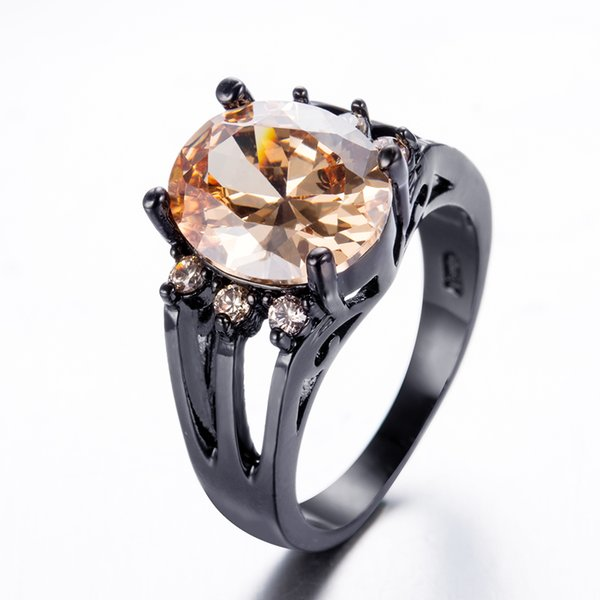 JUNXIN Fashion Champagne Round Ring Fashion Black Gold Filled Jewelry Vintage Wedding Rings For Men And Women Birth Stone Gift