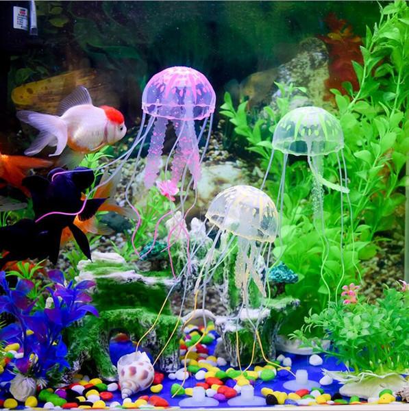 2019 New 10cm Aquarium Products Fish Tank Decorate Small Imulation Jellyfish Silicone Transparent Fluorescent Jellyfish Decoration I084 From Tina310