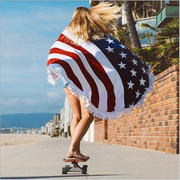Mantas de playa Bandera americana Patrón Toallas Bikini Cover Playa Beach Sarongs Shawl Toalla De Baño Yoga Mat Desgaste Poliéster Redonda