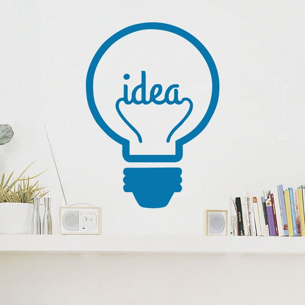 Idea Symbol Lightbulb Art Vinyl Wall Stickers Creative Design Wall Decals Murals for Kids Room Living Room Decorations