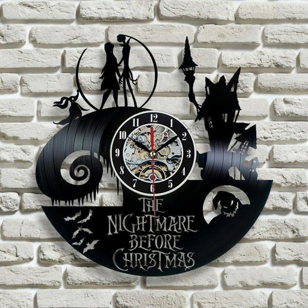 2017 Nuevo Disco de Vinilo Reloj de Pared Pesadilla Antes de Navidad Jack y Sally Class, regalo de Navidad para un amigo, decoración moderna de la pared ock