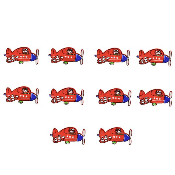 10PCS red aircraft embroidery patches for clothing iron patch for clothes applique sewing accessories stickers badge on cloth iron on patch