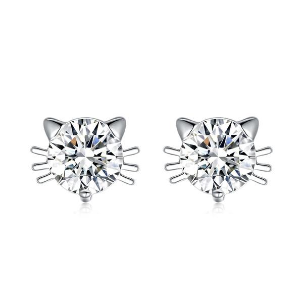 Silver Crystal Zircon Cute Lovely Cat Earrings Stud 1Pair