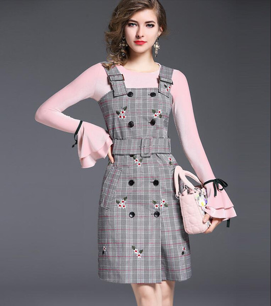 New Autumn Winter Women Fashion Two Piece Sets Pink Bell Sleeve Knitting Shirt + Grey Plaid Sundresses Double-Breasted Suspender Dress