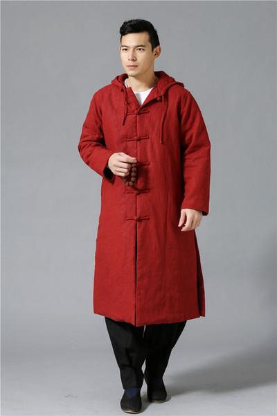 Wholesale- The coolest ethnic trend fashion wind breaker raincoat mianyiwaitao jacket coat Long Trench Coat Men Overcoat plus size 6colors