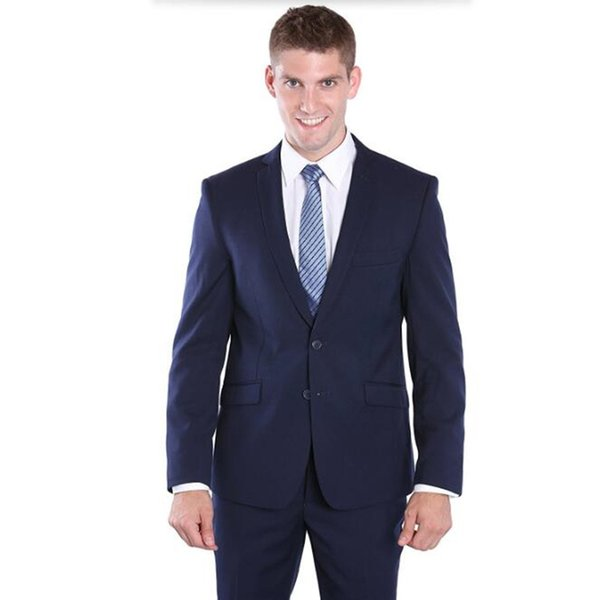 Solid color groom suits tuxedos new design wedding suits tuxedos blue lapel single breasted groomsman party dress suits(jacket+pants)
