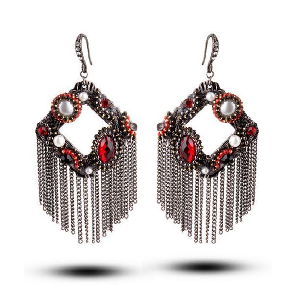 tassels earrings multi wire cluster dangle drop rhombus retro style rhinestone glass crystal handmade eardrops high quality woman fashion