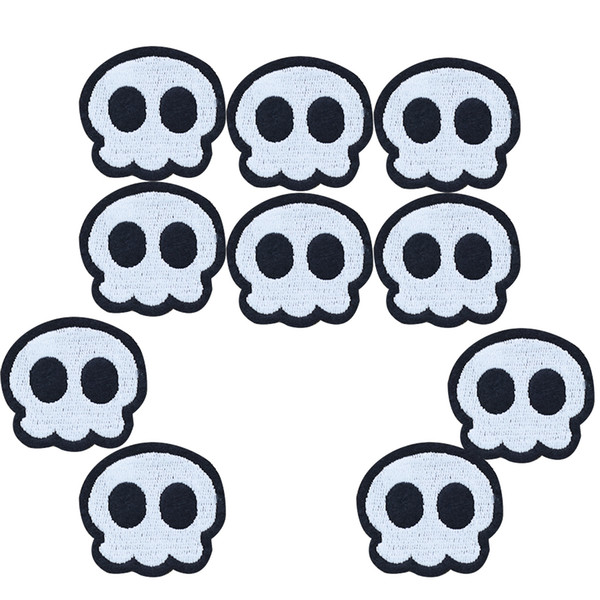 10PCS black eye skull embroidery patches for clothing iron patch for clothes applique sewing accessories stickers on cloth iron on patches