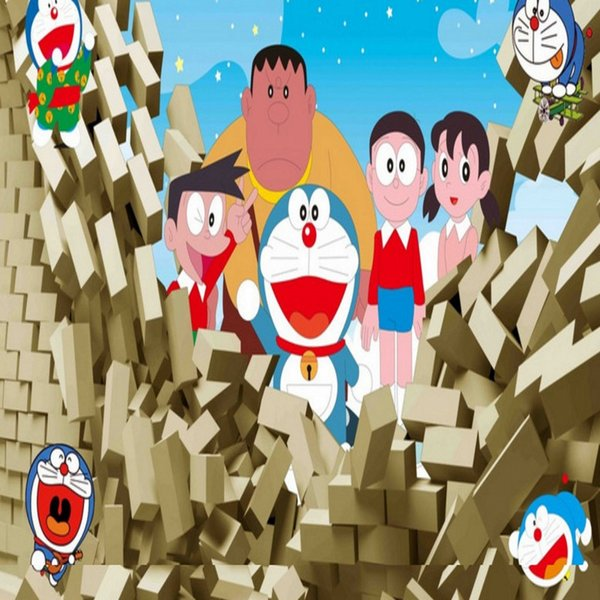 Free shipping 3d stereo cartoon children doraemon stereo tv free shipping 3d stereo cartoon children doraemon stereo tv background wallpaper custom high quality bedroom wallpaper voltagebd Images