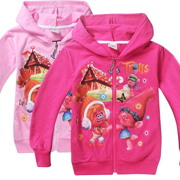 best selling Free DHL 2 Color Girls Trolls Poppy Branch Hoodies Sweatshirts NEW children Christmas cartoon Long sleeve Hoodie jacket kids coat B001