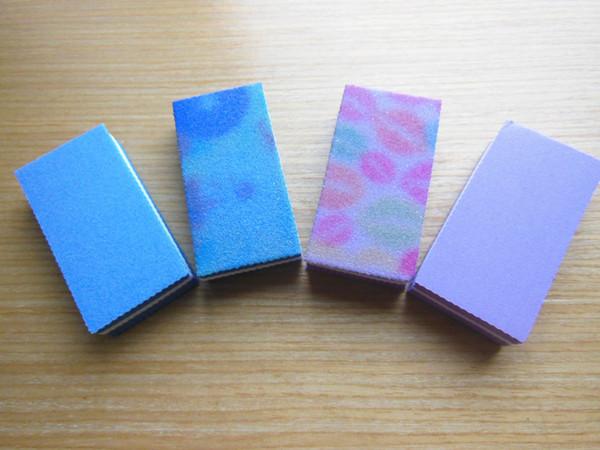 Wholesale- 12 pcs mixed colour mini nail buffer file nail block manciure tool sponge nail file free shipping