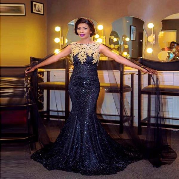 Sparkling azul marino sirena vestidos de noche con abrigo / chaqueta apliques de encaje lentejuelas vestido de baile largo Vestidos formales vestido de cóctel de las mujeres