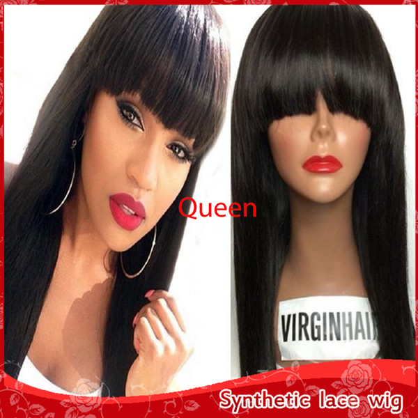 Cheap Sexy Silky Straight Long Wigs for Black Women Heat Resistant Glueless Synthetic None Lace Wigs with Bangs High Quality