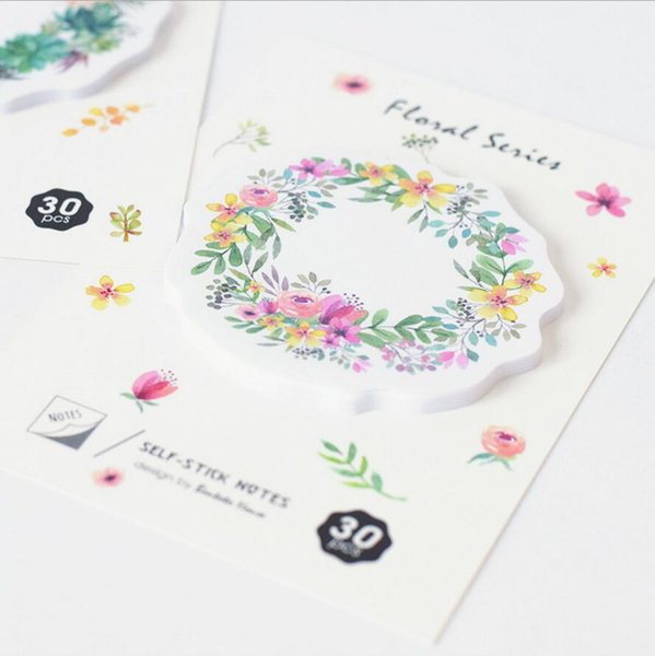 top popular Wholesale- 36 pcs Lot Flower Wreath Sticky Note 30 sheet 70mm Watercolor floral memo pad Stationery Office accessories School supplies 7020 2020