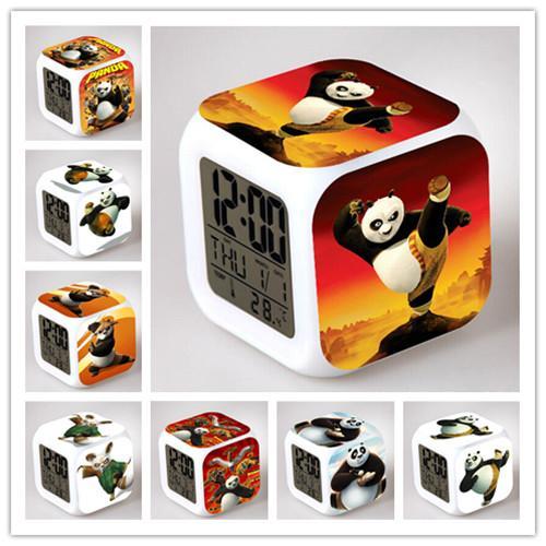 Atacado- 2017 novo Kung Fu Panda Po LED brilhante despertador Animal Panda brinquedos crianças Wake Up Table Despertador Panda lâmpada caixa de iluminação de presente