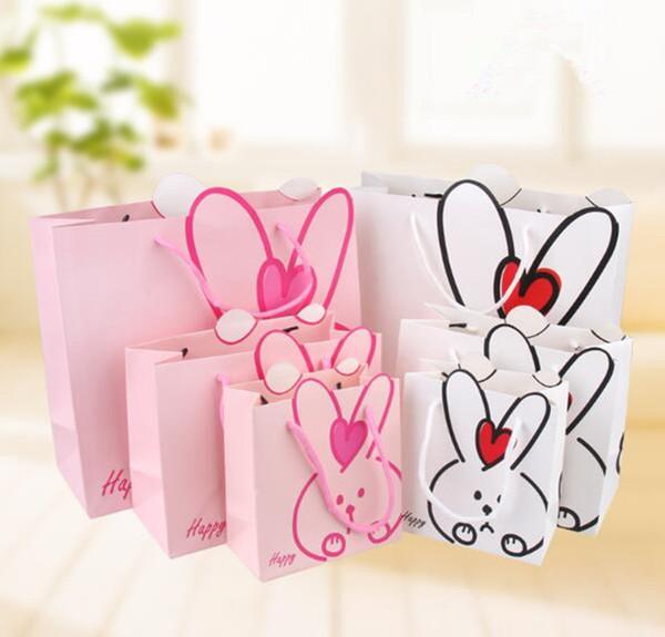 Wholesale 100PCS/LOT Pink White Cartoon Lovely Rabit Paper Gift Bag Best Gift For Children Birthday