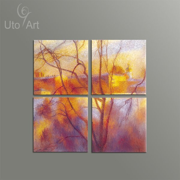 4 PCS Wall Decor Painting Autumn Landscape Abstract Art Print Decorative Digital Picture Canvas Printing For Home Decoration