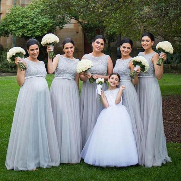 Long Light Grey Bridesmaid Dresses