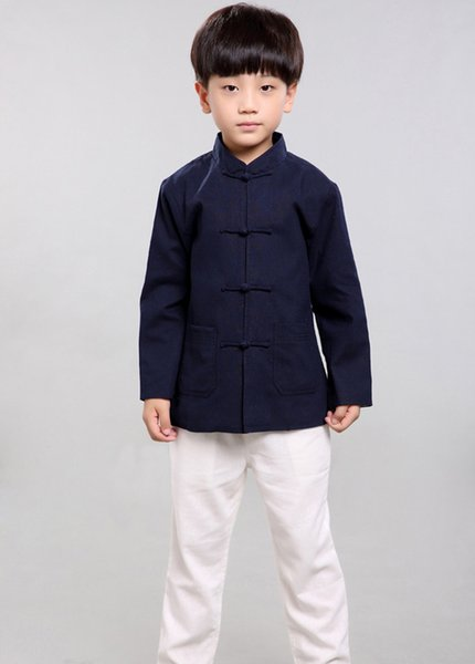 100% Handmade Boys Long Sleeve Kung Fu Tai Chi Martial Arts Kids Jacket#101