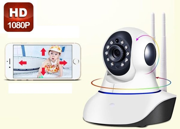 1PCS Double antenna Camera wireless IP camera WIFI Megapixel 1080p HD indoor Wireless Digital Security CCTV IP Camera + 8G TF memory card