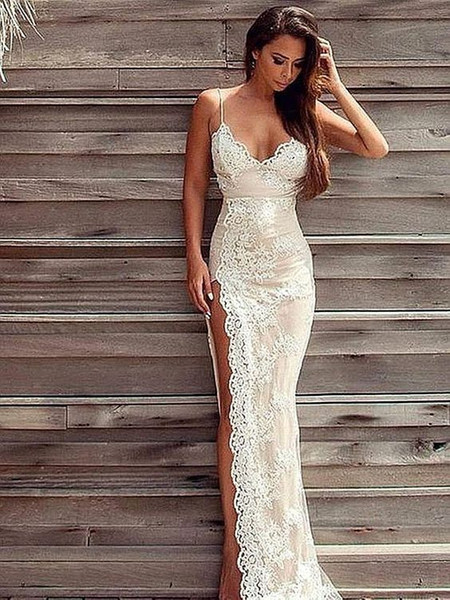 Simple Lace Beach Wedding Dresses White Sweetheart Spaghetti Straps Sheath Wedding Gowns Split Floor Length Formal Women Bridal Gowns