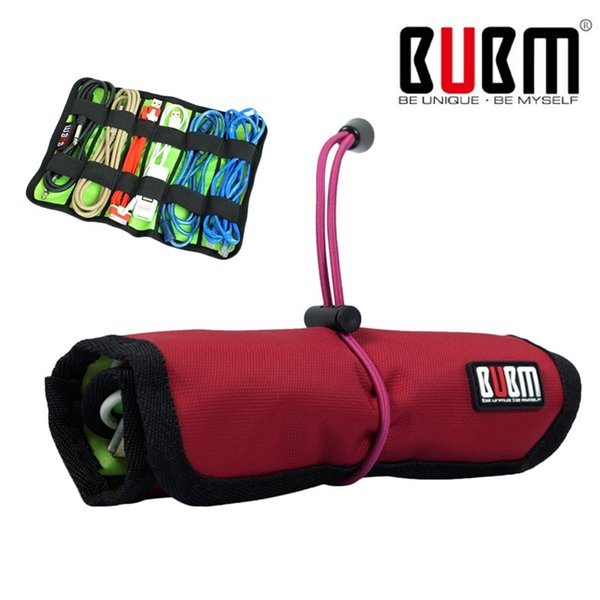 Wholesale- BUBM Cable Organizer Roll UP Universal Pens Winder Stable Carrying Case USB Flash Drive Travel Pouch Storage Bag Organizador