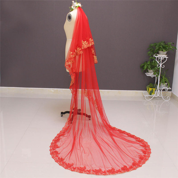 New Arrival Two Layer Gold Lace Red Tulle 2 Tiers Bridal Veil With Comb High Quality Wedding Accessories NV7016