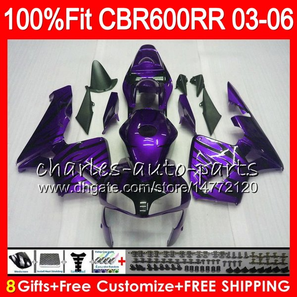 8Gifts 23Colors Injection For HONDA CBR 600RR F5 CBR 600 RR 05 06 43NO120 CBR600RR 03 04 CBR600F5 Purple flames CBR600 RR 2003 2004 Fairing