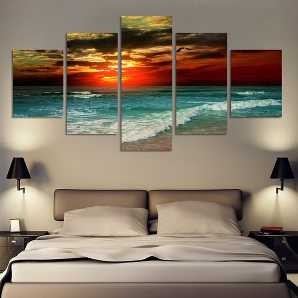 5 panels Hot Sell HD Print Painting The wide sea Printed on High Quality Canvas,Modern Home Wall Decor size can be customized