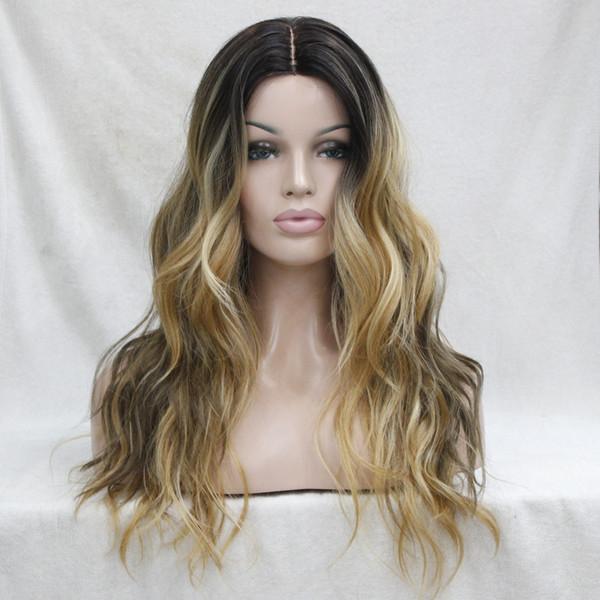Non tagliare il davanti in pizzo! Hot Ombre Darkest Brown Mix Golden Blonde Wavy Parrucca lunga frontale in pizzo