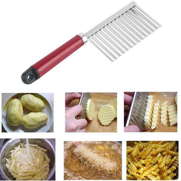 top popular 200pcs French Fry Cutters Potato Dough Waves Crinkle Cutter Slicer Potato Cutter Slicer Kitchen Vegetable Carrot Chip Blade 2019