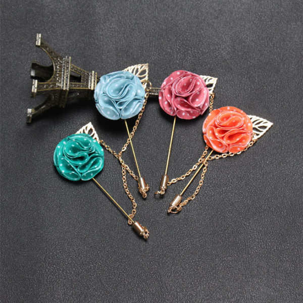New Men brooch Flower Lapel pin suit Boutonniere spot Fabric yarn pin 12 colors button fabric Leaf chain flower brooches Solid Jewelry
