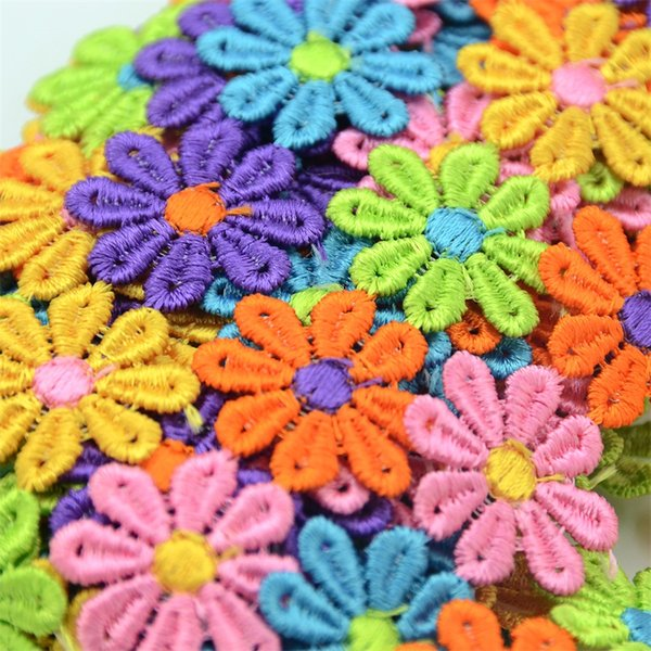 1M Multicolor Sun Flower Cotton Ribbon Lace Fabric For Wedding Decoration DIY Craft Applique Embroidery Tape Sewing Supplies