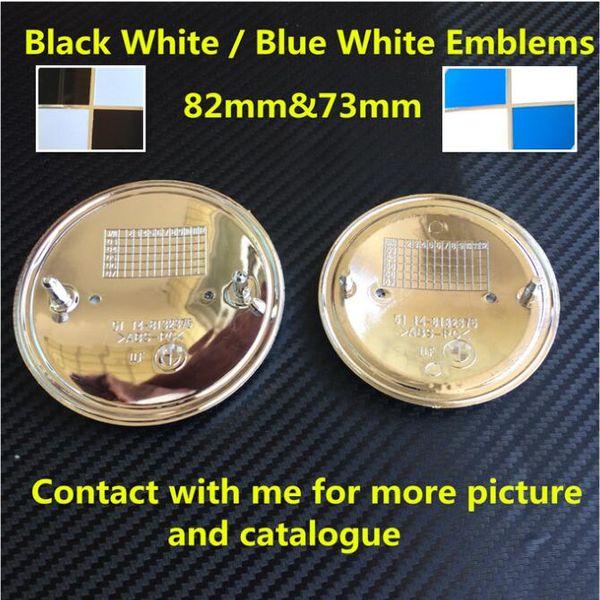 100pcs New Car Styling 82mm 74mm Blue Black White Front Hood Rear Boot Badge Emblem