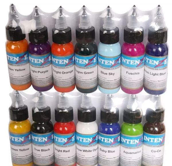 14 colores 14 unidades / lote conjunto de tintas para tatuaje pigmentos maquillaje permanente 30 ml color cosmético tinta para tatuaje para delineador de cejas labio