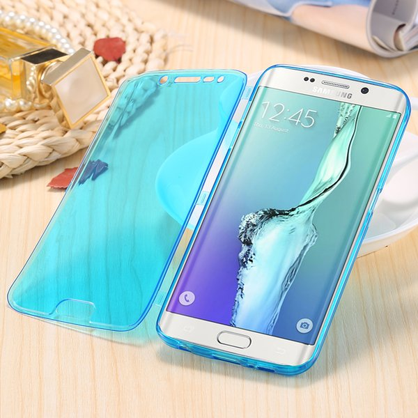 2017 S7 Edge Soft TPU Cases Fashion Flip Silicone Clear Case For Galaxy S7 S7 Edge Full Body Transparent Cover