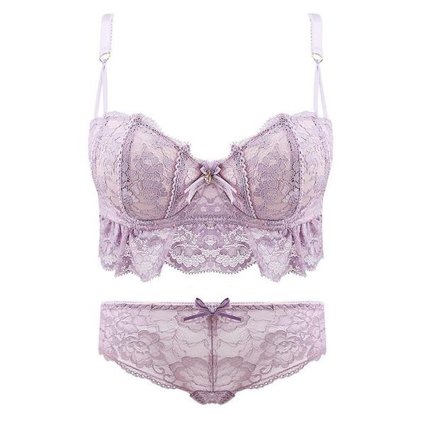 High quality women push up cute bra sets sexy Lovely lace bra set fresh girl  underwear lingerie sets side gather bra +panties 86019a4f1