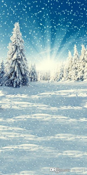 5x7ft vinyl christmas snow pine tree blue light photography studio backdrop background
