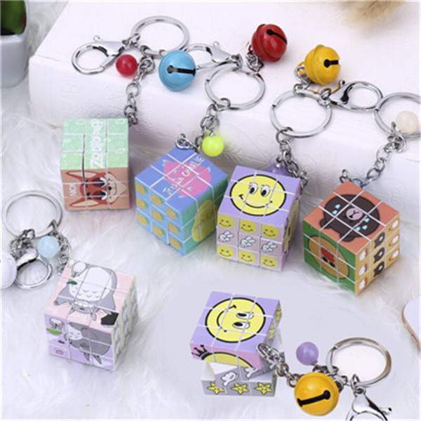 2017 new fashion Wholesale Candy pearl bell large rubik's key chain, Custom logo for student and friends gifts