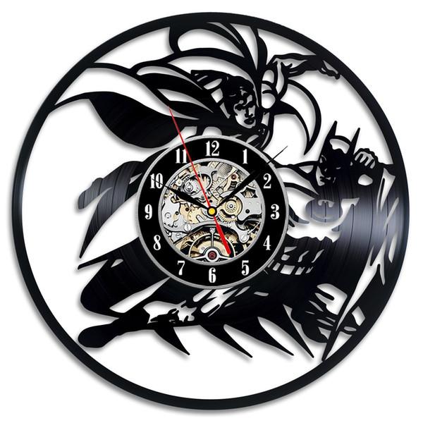 Superman Logo Vinyl Record Art Superman Gift Modern Wall Clock Superman Art Gift