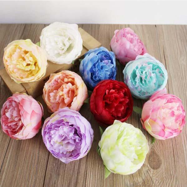 8 colores que eliges - 30pcs 10 * 7cm Silk peony cabezas de flores decoración del banquete de boda simulación artificial Silk Peony Camellia Rose Flower