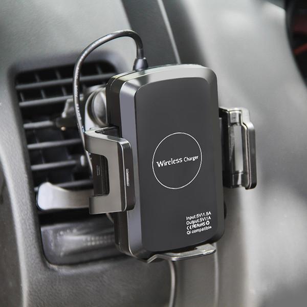 QI Caricabatterie wireless per supporto da auto per iPhone X 8 Plus per Samsung Note 8 S8 Plus S7 edge C1 Caricatore da auto con scatola al dettaglio 10 pz / su