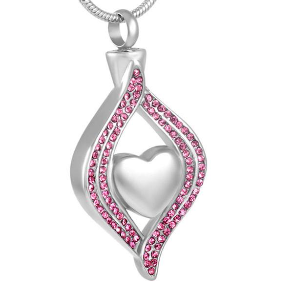Stainless Steel Heart Cremation Urn Pendant Necklace women Jewelry Keepsake Memorial Collier bijoux