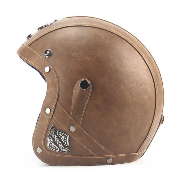 Wholesale- Adult Open Face Half Leather Helmet Harley Moto Motorcycle Helmet vintage Motorbike Vespa motocross capacete Chopper Bike Black